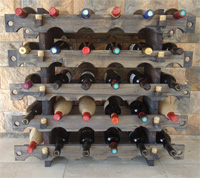 Botellero 5 modulos de 6 botellas en Pino muy viejo